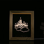 cheap -1 Set Of 3D Mood Night Light LED Lights USB Bedroom Photo Frame Lamp Gifts Castle