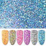 6 Bottles/Set 40g Round Nail Art Glitter Sequins 6 Colors Mixed Nail Glitter Powder Women Nail Decoration Manicure Tools
