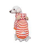 Собака Толстовки Одежда для собак Дышащий Мода В полоску Оранжевый Костюм Для домашних животных