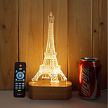 1 Set Of 3D Solid Wood LED Night Light USB Mood Lamp Remote Control Dimming Gift Tower