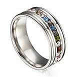 Men's Women's Statement Rings Cubic Zirconia Colorful Hiphop Gift Stainless Steel Circle Jewelry For Daily Carnival