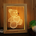 1 Set Of Home Decoration Acrylic 3D Night Light LED Lamp USB Mood Lamp, Photo Frame Light, Dimming, 3W, Bear