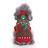 Cat Dog Sweaters Dog Clothes Casual/Daily Chrismas Color Block New Year's Color Block Red Costume For Pets