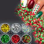 6 bouteilles / set coloré noël paillettes ronde paillettes nail art 3d paillette xmas bricolage nail art mignon brillant décoration