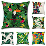 6 pcs Cotton/Linen Pillow Case Pillow Cover,Botanical Classic Novelty Classical Traditional/Classic Neoclassical Tropical Euro Retro