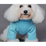 Dog Sweater Dog Clothes Casual/Daily Solid Green Blue Pink Costume For Pets