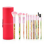 12 pcs Makeup Brush Set Synthetic Hair Professional Soft Travel Size Wooden Eye Face Nose