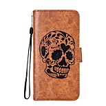 cheap -Case For Samsung Galaxy Xperia XZ Xperia L1 Card Holder Wallet with Stand Flip Magnetic Embossed Pattern Full Body Skull Hard PU Leather