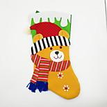 большой нетканый материал рождественский чулок рождественский орнамент медведь