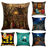 Set Of 6 Halloween Old Mansion Pumpkin Pattern Pillow Cover Vintage 45*45Cm Pillow Case Creative Sofa Cushion Cover