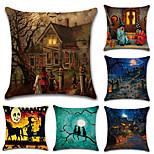 Недорогие -набор из 6 Хэллоуин старый особняк тыква шаблон подушка крышка винтаж 45 * 45 см наволочка творческий диван подушка покрытие