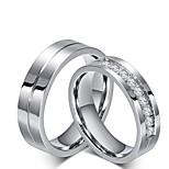 Men's Women's Rings Set Engagement Ring Cubic Zirconia Rhinestone Simple Style Elegant Cubic Zirconia Titanium Steel Circle Jewelry For