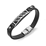Men's Bracelet Leather Bracelet Basic Rock Stainless Steel Leather Round Jewelry For Bar Going out