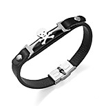 Men's Bracelet Fashion Gothic Stainless Steel Leather Circle Jewelry For Going out Club