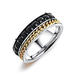 Men's Band Rings Obsidian Fashion Vintage Rhinestone Titanium Steel Circle Jewelry For Wedding Party