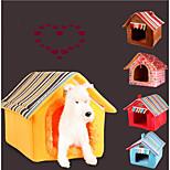 Кошка Собака Кровати Животные Коврики и подушки Однотонный В полоску Теплый Компактность Складной Мягкий Желтый Кофейный Для домашних