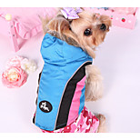 Dog Coat Dog Clothes Casual/Daily Color Block Blue Fuchsia Black Costume For Pets