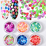 6 Bottles /Set Heart Shape Nail Glitter Sequins Mixed Color Shiny 3d Nail Art Glitter Decorations Ultra-thin Nail Flakes Manicure Tools