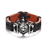 Men's Leather Bracelet Simple Hiphop Leather Alloy Wolf Jewelry For Daily Casual