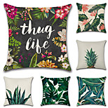 cheap -Set Of 6 Classical Square Pillow Cover Tropical Plant Printing Pillow Case Novelty Sofa Cushion Cover
