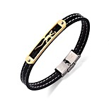 Men's Bracelet Leather Bracelet Simple Hiphop Stainless Steel Leather Round Animal Shape Jewelry For Going out Street