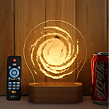 1 Set Of 3D Solid Wood LED Night Light USB Mood Lamp Remote Control Dimming Gift Wind Blast