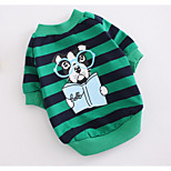 Dog Sweatshirt Dog Clothes Casual/Daily Stripe Green Red