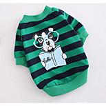 Cane Felpa Abbigliamento per cani Casual Rigato Rosso Verde Costume Per animali domestici