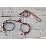 Dog Leash Walking Solid Genuine Leather Brown
