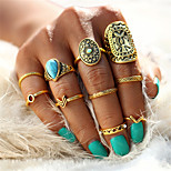 Men's Women's Rings Set Nail Finger Rings Turquoise Vintage Bohemian Statement Jewelry Alloy Geometric Drop Jewelry For Wedding Party