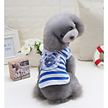 Dog Vest Dog Clothes Leisure Stripe Red Blue Costume For Pets
