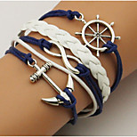 Men's Women's Wrap Bracelet Simple Basic Leather Alloy Anchor Jewelry For Casual Going out
