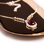 Women's Choker Necklaces Pendant Necklaces Cubic Zirconia Synthetic Ruby Drop Silver Stone Vintage Elegant Jewelry For Party Going out