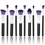 10 pcs Makeup Brush Set Synthetic Hair Full Coverage Wood Blush
