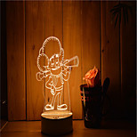 1 Set Of Decorative Acrylic 3d Night Light LED Bedroom Lamp Mood Lamp, Hand Scanning, Dimming, Color Change, 3W, Cartoon people