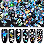 6 Bottles/Set Laser Holographic Nail Sequins Star Glitters Manicure Nail Art Women DIY Decorations 6 Colors Package