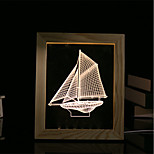 cheap -1 Set Of 3D Mood Night Light LED Lights USB Bedroom Photo Frame Lamp Gifts Sailboat