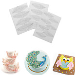 3Pcs/set Feather Wing Flower Texture Mat Sugar Craft Decoration Tool For Cake DIY Plastic Mold 25.4*17.8cm