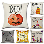 Set Of 6 Halloween Pumpkin Witch Printing Pillow Cover Classic Square Pillow Case 45*45Cm Sofa Cushion Cover