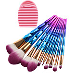 10 pcs Makeup Brush Set Synthetic Hair Eco-friendly Professional Full Coverage Plastic Eye Face Nose