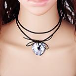 Недорогие -Жен. Сердце Мода Ожерелья-бархатки , Шнур Стекло Ожерелья-бархатки , Повседневные