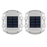 2PCS Aluminum Solar 6-LED Outdoor Road Driveway Dock Path Ground Light Lamp Red