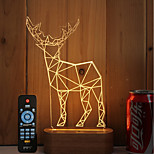 1 Set Of 3D Solid Wood LED Night Light USB Mood Lamp Remote Control Dimming Gift Antelope