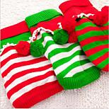 Недорогие -Кошка Собака Свитера Рождество Одежда для собак новый На каждый день Сохраняет тепло В полоску Белый Красный Зеленый Костюм Для домашних