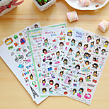 4 Pcs/Set Cartoon Girl Diary Sticker Phone Sticker Scrapbook Stickers
