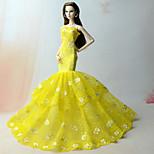 Платья Платье Для Кукла Барби матовый желтый Платье Для Девичий игрушки куклы
