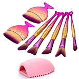 7 pcs Makeup Brush Set Synthetic Hair Eco-friendly Professional Full Coverage Plastic Eye Face Nose
