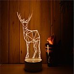 1 Set Of Decorative Acrylic 3d Night Light LED Bedroom Lamp Mood Lamp, Hand Scanning, Dimming, Color Change, 3W, Deer