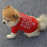 Cat Dog Shirt / T-Shirt Sweatshirt Dog Clothes Stylish Snowflake Casual/Daily Keep Warm Christmas Letter & Number Red