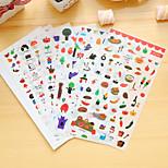 6 Pcs/Set Food Diary Sticker Phone Sticker Scrapbook Stickers